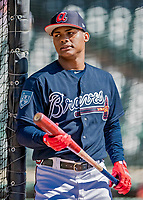 25 February 2019: Atlanta Braves outfielder Cristian Pache awaits his turn in the batting cage prior to a pre-season Spring Training game against the Washington Nationals at Champion Stadium in the ESPN Wide World of Sports Complex in Kissimmee, Florida. The Braves defeated the Nationals 9-4 in Grapefruit League play in what will be their last season at the Disney / ESPN complex. Mandatory Credit: Ed Wolfstein Photo *** RAW (NEF) Image File Available ***