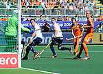 The Hague, Netherlands, June 13: George Pinner #1 of England, Iain Lewers #24 of England, Michael Hoare #12 of England and Billy Bakker #8 of The Netherlands look on after the ball hits the post during the field hockey semi-final match (Men) between The Netherlands and England on June 13, 2014 during the World Cup 2014 at Kyocera Stadium in The Hague, Netherlands. Final score 1-0 (1-0)  (Photo by Dirk Markgraf / www.265-images.com) *** Local caption ***