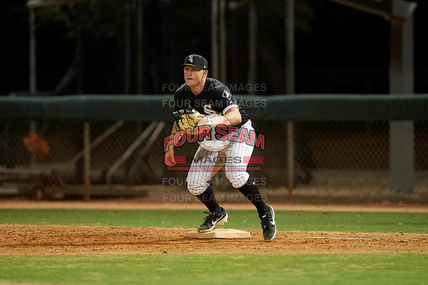 AZL White Sox first baseman Andrew Vaughn (20) prepares to catch a throw during an Arizona League game against the AZL Indians Blue on July 2, 2019 at Camelback Ranch in Goodyear, Arizona. AZL Indians Blue defeated the AZL White Sox 10-8. (Zachary Lucy/Four Seam Images)