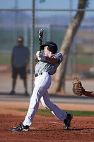 Brandon McCray (49), from Corona, California, while playing for the Indians during the Under Armour Baseball Factory Recruiting Classic at Red Mountain Baseball Complex on December 29, 2017 in Mesa, Arizona. (Zachary Lucy/Four Seam Images)