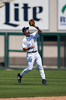 Detroit Tigers second baseman Corey Joyce (28) catches a popup during a Minor League Spring Training game against the Baltimore Orioles on April 14, 2021 at Joker Marchant Stadium in Lakeland, Florida.  (Mike Janes/Four Seam Images)