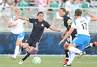 Lisa De Vanna #17 and Abby Wambach #20 of the Washington Freedom start an attack during a WPS match against the Boston Breakers at the Maryland Soccerplex, in Boyd's, Maryland, on April 18 2009. Breakers won the match 3-1.