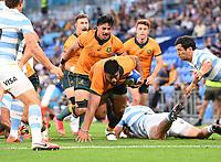 2nd October 2021, Cbus Super Stadium, Gold Coast, Queensland, Australia;  Australia's Folau Fainga'a breaks ankle tackles and scores a try. Australian Wallabies versus Argentina Pumas. Rugby Championship test match. Rugby Union. Gold Coast, Australia.