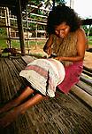 Yagua Indian woman making basket, Brazil