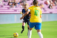 ORLANDO CITY, FL - FEBRUARY 21: Emily Sonnett #14 of the USWNT dribbles the ball during a game between Brazil and USWNT at Exploria Stadium on February 21, 2021 in Orlando City, Florida.