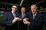 Brian Stockbridge, Ally McCoist and Charles Green with the welcome plaque from the London Stock Exchange