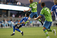 SAN JOSE, CA - MAY 12: Eduardo Lopez #9 of the San Jose Earthquakes, Ethan Dobbelaere #45 of the Seattle Sounders during a game between Seattle Sounders FC and San Jose Earthquakes at PayPal Park on May 12, 2021 in San Jose, California.