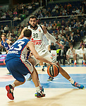 Real Madrid´s Ioannis Bourousis and Anadolu Efes´s Matt Janning during 2014-15 Euroleague Basketball match between Real Madrid and Anadolu Efes at Palacio de los Deportes stadium in Madrid, Spain. December 18, 2014. (ALTERPHOTOS/Luis Fernandez)