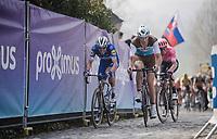Stijn VANDENBERGH (BEL/AG2R-LaMondiale),Kasper ASGREEN (DEN/Deceuninck-Quick Step) & Sep Vanmarcke (BEL/EF Education First) on top of the Paterberg<br /> <br /> 103rd Ronde van Vlaanderen 2019<br /> One day race from Antwerp to Oudenaarde (BEL/270km)<br /> <br /> ©kramon
