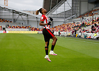 17th October 2020; Brentford Community Stadium, London, England; English Football League Championship Football, Brentford FC versus Coventry City; Ivan Toney of Brentford celebrates scoring his sodas 1st goal in the 46th minute to make it 1-0