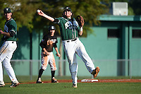 Plymouth State Panthers Dave Hall (7) during the first game of a doubleheader against the Edgewood Eagles on March 17, 2015 at Terry Park in Fort Myers, Florida.  Edgewood defeated Plymouth State 12-3.  (Mike Janes/Four Seam Images)