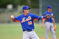 New York Mets third baseman Jeff McNeil (10) warmup throw to first during a minor league spring training game against the Miami Marlins on March 28, 2014 at Roger Dean Stadium in Jupiter, Florida.  (Mike Janes/Four Seam Images)