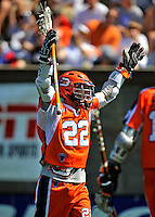 23 August 2008: Philadelphia Barrage Midfielder Justin Smith celebrates a goal against the Rochester Rattlers during the Semi-Finals of the Major League Lacrosse Championship Weekend at Harvard Stadium in Boston, MA. The Rattlers defeated the Barrage 16-15 in sudden death overtime, advancing to the upcoming Championship Game...Mandatory Photo Credit: Ed Wolfstein Photo