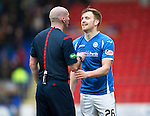 St Johnstone v Motherwell…20.02.16   SPFL   McDiarmid Park, Perth<br />Liam Craig gets a lecture from Ref Bobby Madden<br />Picture by Graeme Hart.<br />Copyright Perthshire Picture Agency<br />Tel: 01738 623350  Mobile: 07990 594431