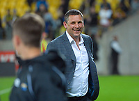 Hurricanes head coach Jason Holland is all smiles after the Super Rugby Aotearoa match between the Hurricanes and Highlanders at Sky Stadium in Wellington, New Zealand on Friday, 30 April 2020. Photo: Dave Lintott / lintottphoto.co.nz