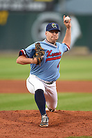 Cedar Rapids Kernels pitcher Mat Batts (46) delivers a pitch during a game against the Quad Cities River Bandits on August 19, 2014 at Perfect Game Field at Veterans Memorial Stadium in Cedar Rapids, Iowa.  Cedar Rapids defeated Quad Cities 5-3.  (Mike Janes/Four Seam Images)