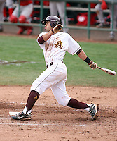 Riccio Torrez #30 of the Arizona State Sun Devils bats against the University of New Mexico Lobos in game two of the 2011 season opening series on February 20, 2011 at Packard Stadium, Arizona State University, in Tempe, Arizona..Photo by:  Bill Mitchell/Four Seam Images.
