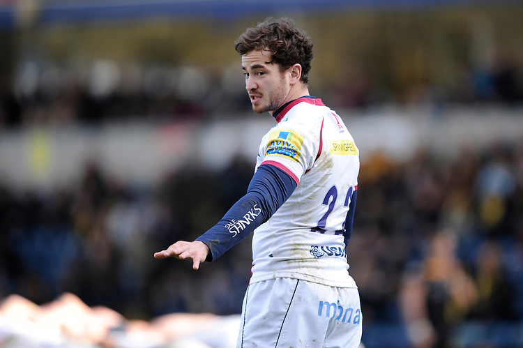 Danny Cipriani of Sale Sharks issues instructions during the Aviva Premiership match between London Wasps and Sale Sharks at Adams Park on Saturday 1st March 2014 (Photo by Rob Munro)