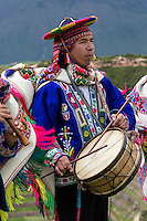 Peru, Moray, Urubamba Valley.  Quechua Musicians Playing to Welcome Guests at Parador de Moray.