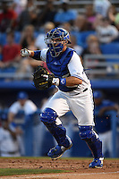 Dunedin Blue Jays catcher Mike Reeves (23) chases a runner back to third during a game against the Clearwater Threshers on April 10, 2015 at Florida Auto Exchange Stadium in Dunedin, Florida.  Clearwater defeated Dunedin 2-0.  (Mike Janes/Four Seam Images)
