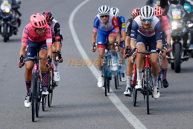 Magnus Cort Nielsen (DEN) EF Education-Nippo and Quinn Simmons (USA) Trek-Segafredo lead the breakaway during Stage 19 of La Vuelta d'Espana 2021, running 191.2km from Tapia de Casariego to Monforte de Lemos, Spain. 3rd September 2021.    <br /> Picture: Luis Angel Gomez/Photogomezsport | Cyclefile<br /> <br /> All photos usage must carry mandatory copyright credit (© Cyclefile | Luis Angel Gomez/Photogomezsport)
