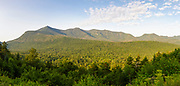 Panoramic of mountain range from a scenic Overlook along the Kancamagus Highway (route 112), which is one of New England's scenic byways in the White Mountains, New Hampshire USA during the summer months. This image consists of four images stitched together