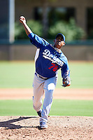 Los Angeles Dodgers minor league pitcher Aris Angeles #76 during an instructional league game against the Chicago White Sox at the Camelback Training Complex on October 9, 2012 in Glendale, Arizona. (Mike Janes/Four Seam Images)