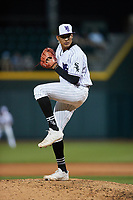 Winston-Salem Dash relief pitcher Wilber Perez (28) in action against the Greensboro Grasshoppers at Truist Stadium on June 15, 2021 in Winston-Salem, North Carolina. (Brian Westerholt/Four Seam Images)