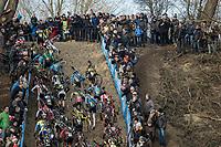 Steep climbing at the Belgian National CX Championships.<br /> <br /> Men's Elite Race<br /> Belgian National Cyclocross Championships 2018 / Koksijde