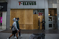 NEW YORK, NEW YORK - JUNE 1: A store is boarded up on June 1, 2020 in New York. The protests spread across the country in at least 30 cities across the United States, over the death of unarmed black man George Floyd at the hands of a police officer, this is the latest death in a series of police deaths of black Americans. Today is the first night of a curfew in New York City (Photo by Pablo Monsalve / VIEWpress via Getty Images)