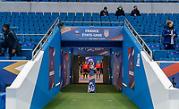 LE HAVRE, FRANCE - APRIL 13: The USWNT and France get set to enter the field before a game between France and USWNT at Stade Oceane on April 13, 2021 in Le Havre, France.