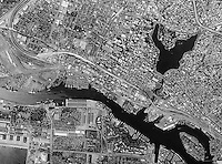 historical aerial photograph Oakland, California, 1998