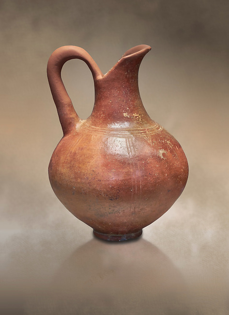 Small Cycladic amphora.  Early Cycladic III (2300-200 BC) , Phylakopi, Melos. National Archaeological Museum Athens. Cat No 5813.<br /> <br /> During this period pottery was plainer with simple geometric decorations. Depicts of birds or lowers were rare.