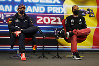 28th August 2021; Spa Francorchamps, Stavelot, Belgium: FIA F1 Grand Prix of Belgium, qualifying sessions;  F1 Grand Prix of Belgium 33 Max Verstappen NED, Red Bull Racing, 44 Lewis Hamilton GBR, Mercedes-AMG Petronas F1 Team at press conference