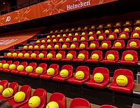 Den Bosch, The Netherlands, April 17, 2021,    Maaspoort, Billie Jean King Cup  Netherlands -  China , Balls<br /> <br /> Photo: Tennisimages/Henk Koster