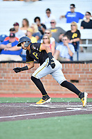 Bristol Pirates Daniel Rivero (15) runs to first base during game three of the Appalachian League, West Division Playoffs against the Johnson City Cardinals at TVA Credit Union Ballpark on August 31, 2019 in Johnson City, Tennessee. The Cardinals defeated the Pirates 7-4 to even the series at 1-1. (Tony Farlow/Four Seam Images)