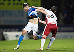 St Johnstone v Rangers…28.12.16     McDiarmid Park    SPFL<br />Graham Cummins and Danny Wilson engage in some shirt pulling<br />Picture by Graeme Hart.<br />Copyright Perthshire Picture Agency<br />Tel: 01738 623350  Mobile: 07990 594431