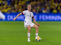 LE HAVRE,  - JUNE 20: Kelley O'Hara #5 passes during a game between Sweden and USWNT at Stade Oceane on June 20, 2019 in Le Havre, France.