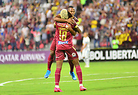 IBAGUE - COLOMBIA, 11-02-2020: Jaminton Leandro Campaz del Tolima celebra después de anotar el primer gol de su equipo partido por la fase 2 vuelta de la Copa CONMEBOL Libertadores 2020 entre Deportes Tolima de Colombia y CSD Macará de Ecuador jugado en el estadio Manuel Murillo Toro de la ciudad de Ibagué. / Jaminton Leandro Campaz of Tolima celebrates after scoring the first goal of his team during match for the phase 2 second leg as part of Copa CONMEBOL Libertadores 2020 between Deportes Tolima of Colombia and CSD Macara of Ecuador played at Manuel Murillo Toro stadium in Ibague. Photo: VizzorImage / Juan Carlos Escobar / Cont