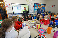 Pictured: Joe Rodon. Wednesday 29 January 2020<br /> Re: Swansea City AFC Community Trust visit Llangyfelach primary School in Swansea, Wales, UK.