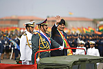 ©PATRICIO CROOKER<br /> Santa Cruz, Bolivia<br /> A picture dated August 7, 2007 shows Bolivian President Evo Morales riding on a military car during a parade in the city of Santa Cruz.
