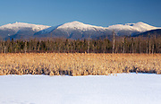 View of the Northern Presidential Range from the along the Presidential Range Rail at Pondicherry Wildlife Refuge in Jefferson, New Hampshire.