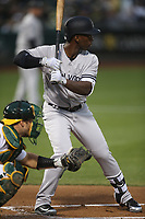 OAKLAND, CA - SEPTEMBER 5:  Andrew McCutchen #26 of the New York Yankees bats against the Oakland Athletics during the game at the Oakland Coliseum on Wednesday, September 5, 2018 in Oakland, California. (Photo by Brad Mangin)