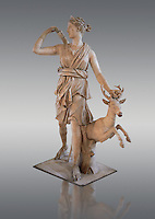 Artimis and Doe also known as the Diana of Versailles. A 1st- 2nd century Imperial Roman marble statue of the Greek Goddess Artimis ( Roman Diana) copied from a lost Greek bronze original attributed to Leochares, c. 325 BC .  Louvre Mueum, Paris. Cat No MA 589<br /> The slightly over life size Diana (goddess of the hunt)  is accompanied by a under life size doe with antlers. She wears a short Dorian chiton, a himation around her waist, and sandals. She is looking to the right and with her right hand is starting to take an arrow out of a quiver on her back. The bow used to be in her left hand which is holding the deers antlers and part of it can be seen in this hand. This was a popular statue with replicas being found at Leptis Magna (Libya) and at Antalya (Turkey).