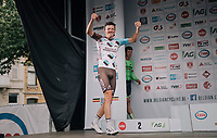 a super happy Oliver Naesen (BEL/AG2R-LaMondiale) walking up the podium after winning the 2017 Belgian National Championship title. Runner-up Sep Vanmarcke (BEL/Cannondale-Drapac) following close behind...<br /> <br /> 2017 National Championships Belgium - Elite Men - Road Race (NC)<br /> 1 Day Race: Antwerpen > Antwerpen (233km)