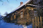 A traditional wood built house in the town of  Bialowieza,   Eastern Border of Poland.