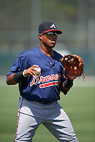 GCL Braves second baseman Luis Mejia (37) during warmups before a game against the GCL Pirates on August 10, 2016 at Pirate City in Bradenton, Florida.  GCL Braves defeated the GCL Pirates 5-1.  (Mike Janes/Four Seam Images)