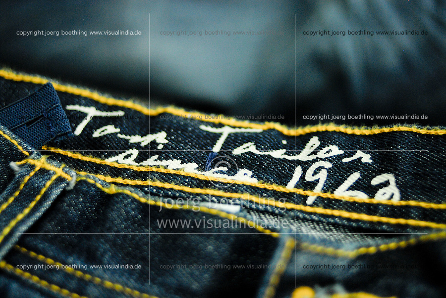 BANGLADESH , textile industry in Dhaka , textile factory produce Jeans for export for western discounter / Bangladesch , Textilfabrik in Dhaka produziert Jeans fuer den Export fuer westliche Textildiscounter wie Tom Tailor /