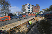 BNPS.co.uk (01202 558833)<br /> Pic: Zachary Culpin/BNPS<br /> <br /> Pictured: The dig is taking place before Dorset Council transforms its former offices into posh flats on land where the Battle of Weymouth took place.<br /> <br /> An archaeological dig is underway at the site of a bloody Civil War battle in a bid to uncover artefacts hidden for 376 years.<br /> <br /> Four exploratory trenches have been dug as part of the excavation of the former medieval high street in Weymouth, Dorset.<br /> <br /> The seaside town witnessed the Battle of Weymouth in February 1645 where Parliamentarians outnumbered by six to one saw off a Royalist plot to seize it.<br /> <br /> Five hundred people were killed during the fighting and had the Royalists won, Charles I would have secured the safe south coast port he needed to land 35,000 French troops - potentially altering the course of history.