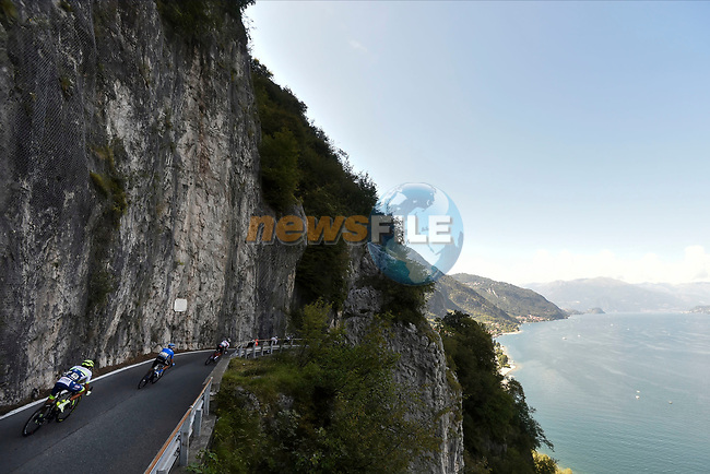 The peloton in action during the 114th edition of Il Lombardia 2020, running 231km from Bergamo to Como, Italy. 15th August 2020.<br /> Picture: LaPresse/Fabio Ferrari | Cyclefile<br /> <br /> All photos usage must carry mandatory copyright credit (© Cyclefile | LaPresse/Fabio Ferrari)